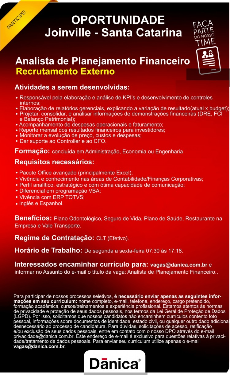 Analista de Planejamento Financeiro   Joinville - SC