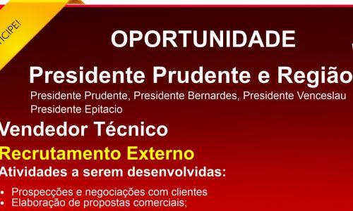 Vendedor Tecnico Região dos Presidentes