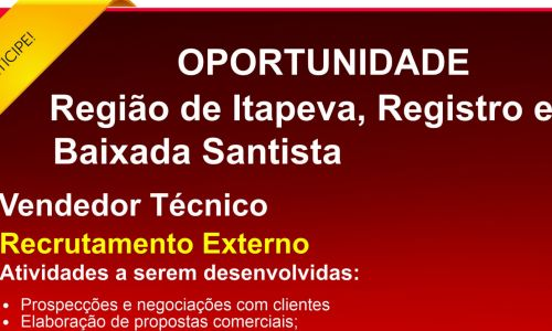 Vendedor Tecnico Itapeva e Região
